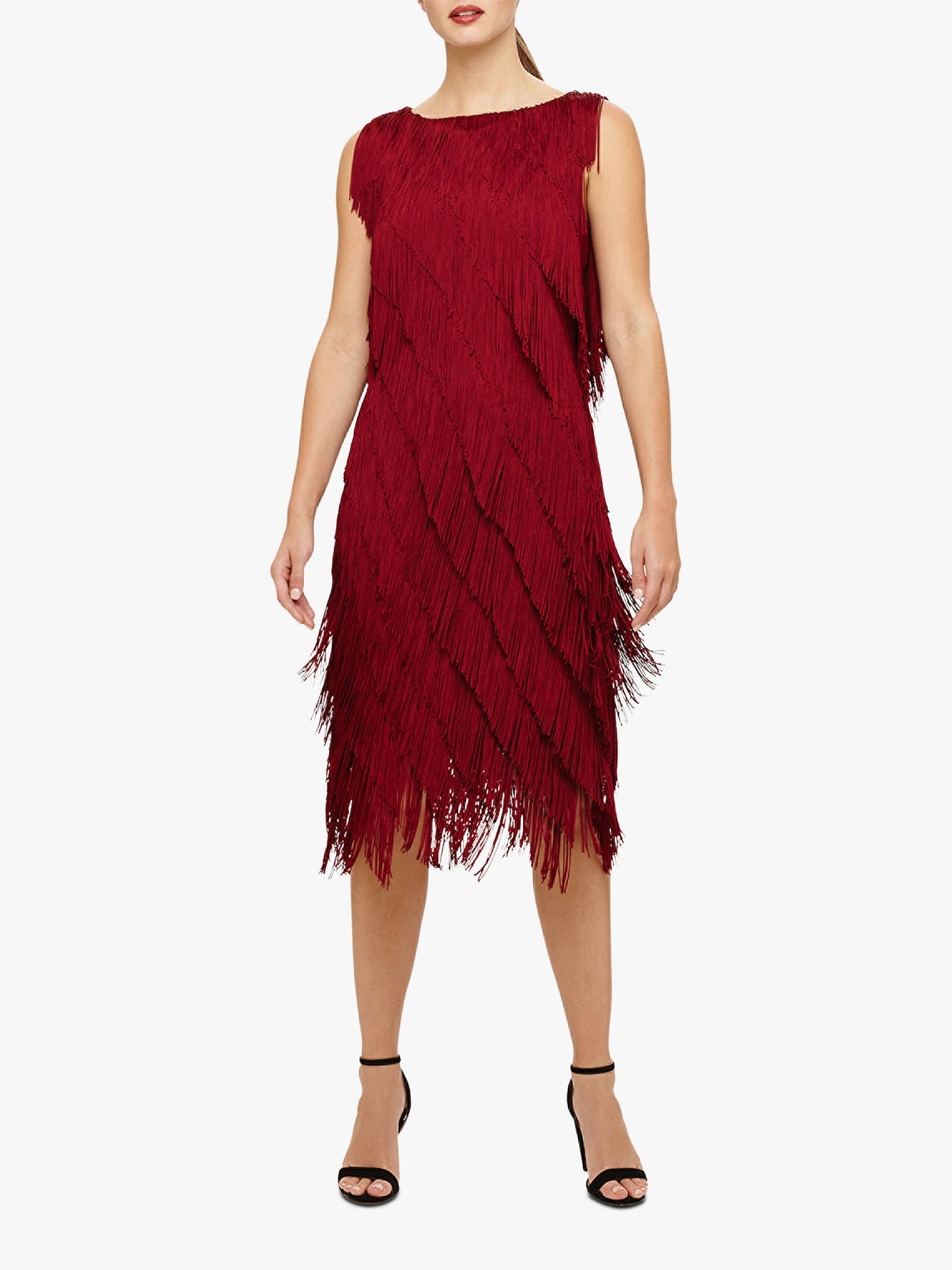 phase eight kacy fringe dress ruby red at john lewis partners