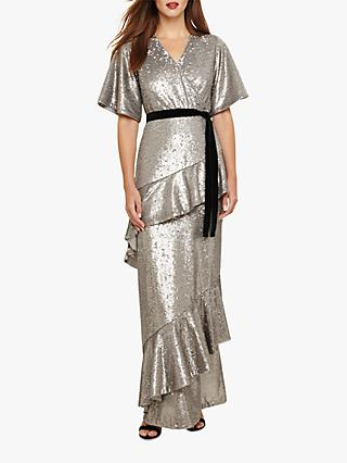 Phase Eight Starlette Sequined Tie Detail Dress, Silver