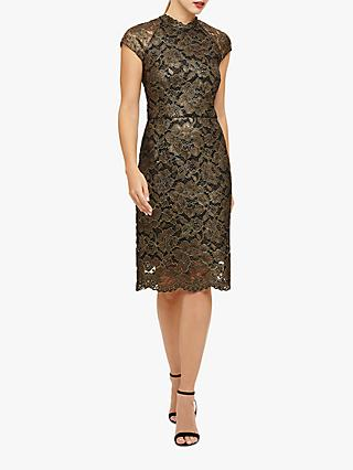 Phase Eight Janie Lace Dress, Black/Gold