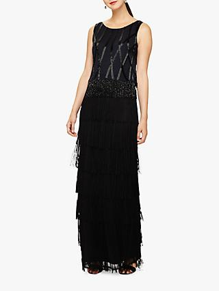 Phase Eight Viola Fringe Embellished Maxi Dress, Black/Navy