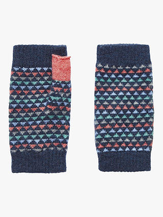 Buy Brora Triangle Print Cashmere Wristwarmers, Ink, One Size Online at johnlewis.com