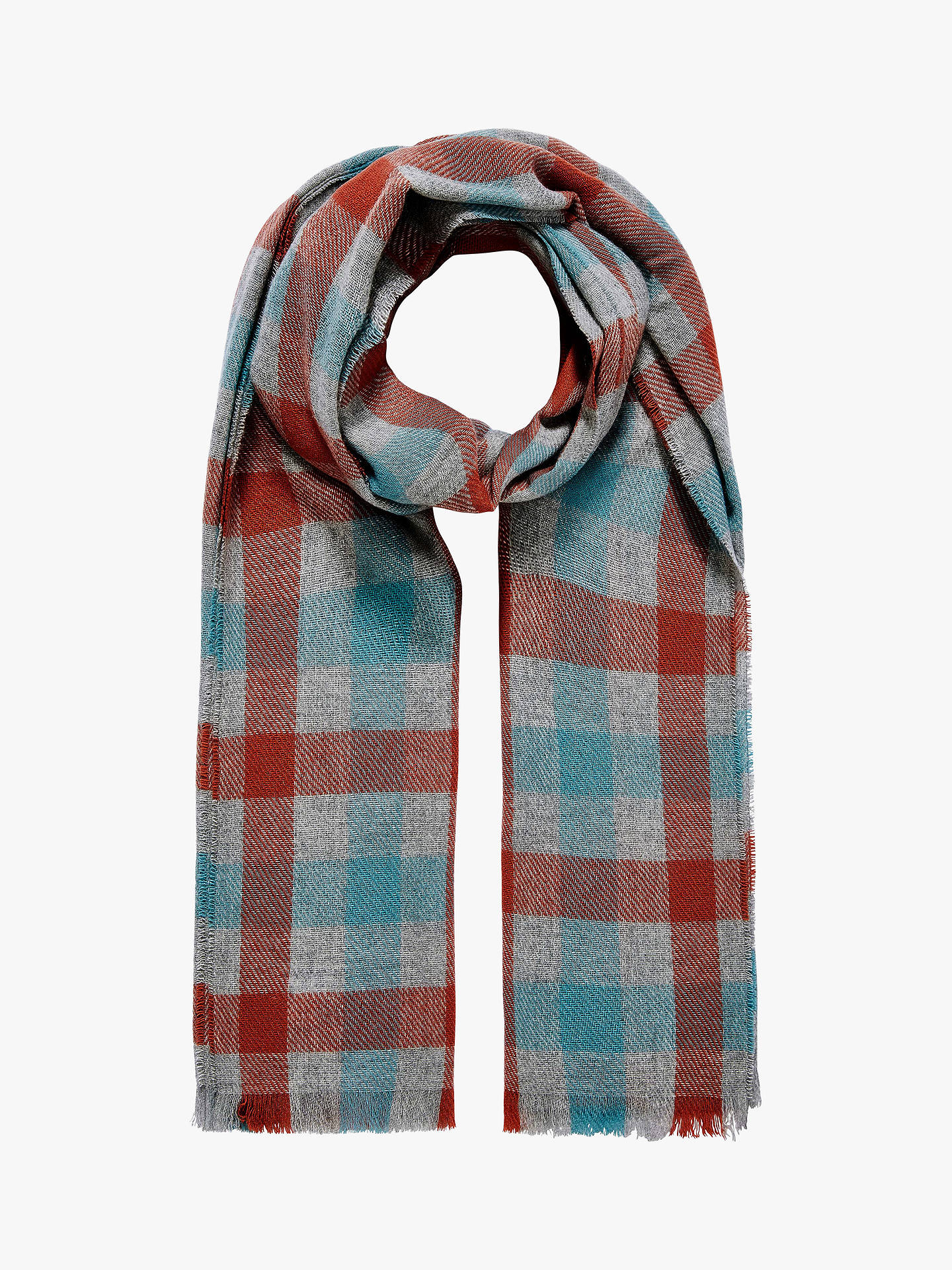 BuyBrora Cashmere Plaid Block Stole Scarf, Duck Egg & Clementine Online at johnlewis.com