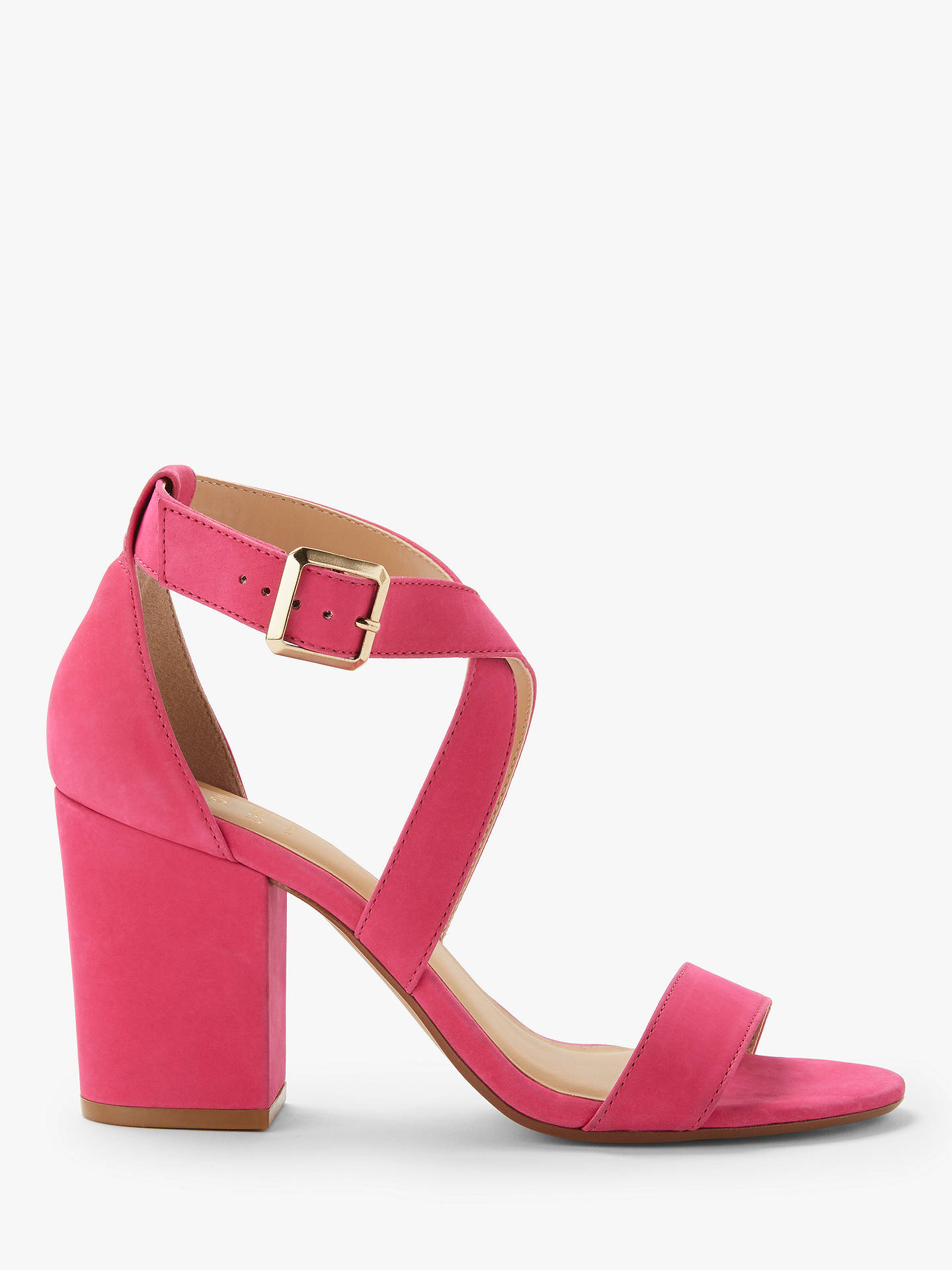 d8784073a37 John Lewis & Partners Demi Cross Strap Block Heel Sandals, Hot Pink ...