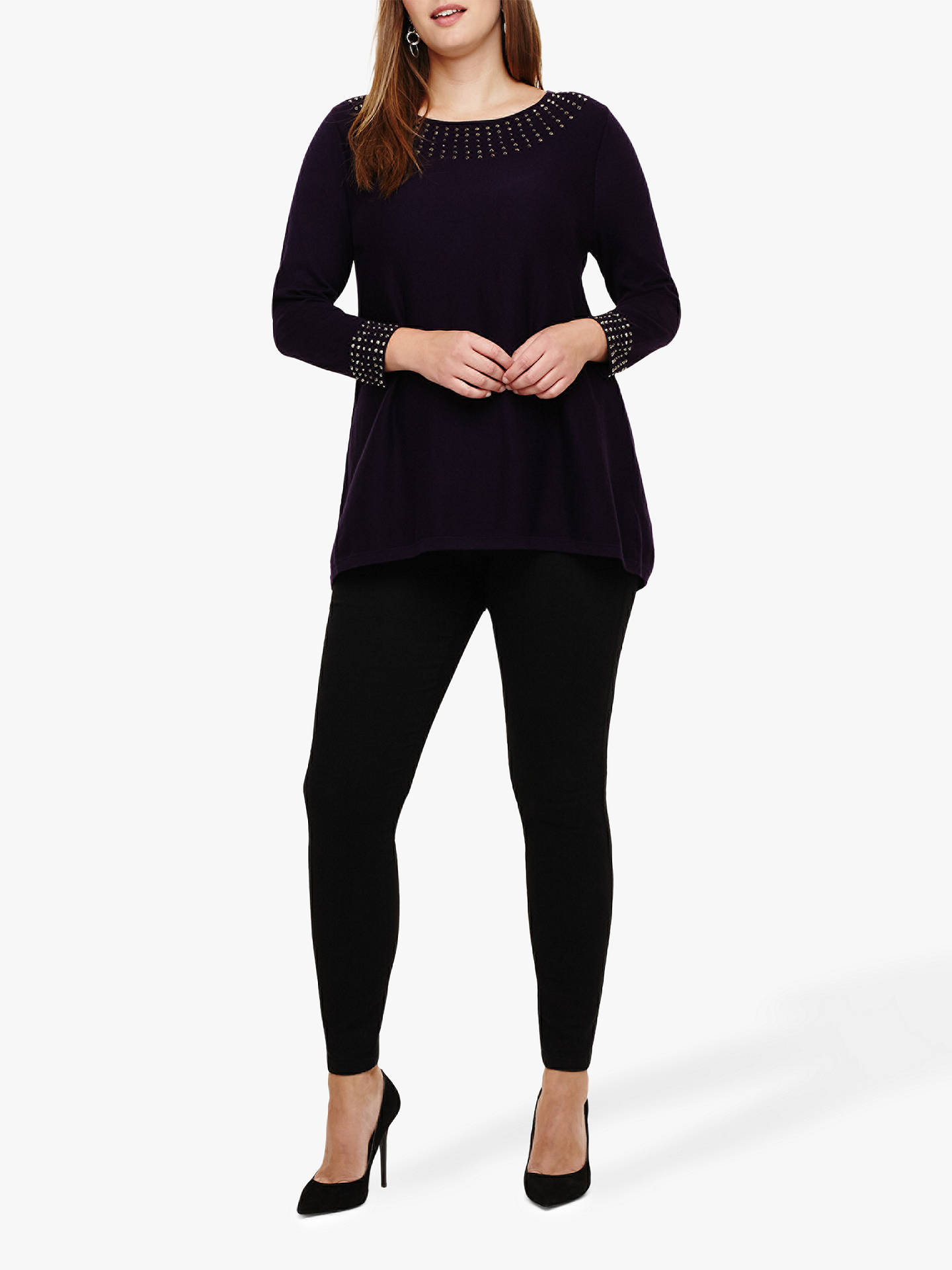 BuyStudio 8 Zelda Stud Cotton Knit Jumper, Deadly Nightshade, 20 Online at johnlewis.com