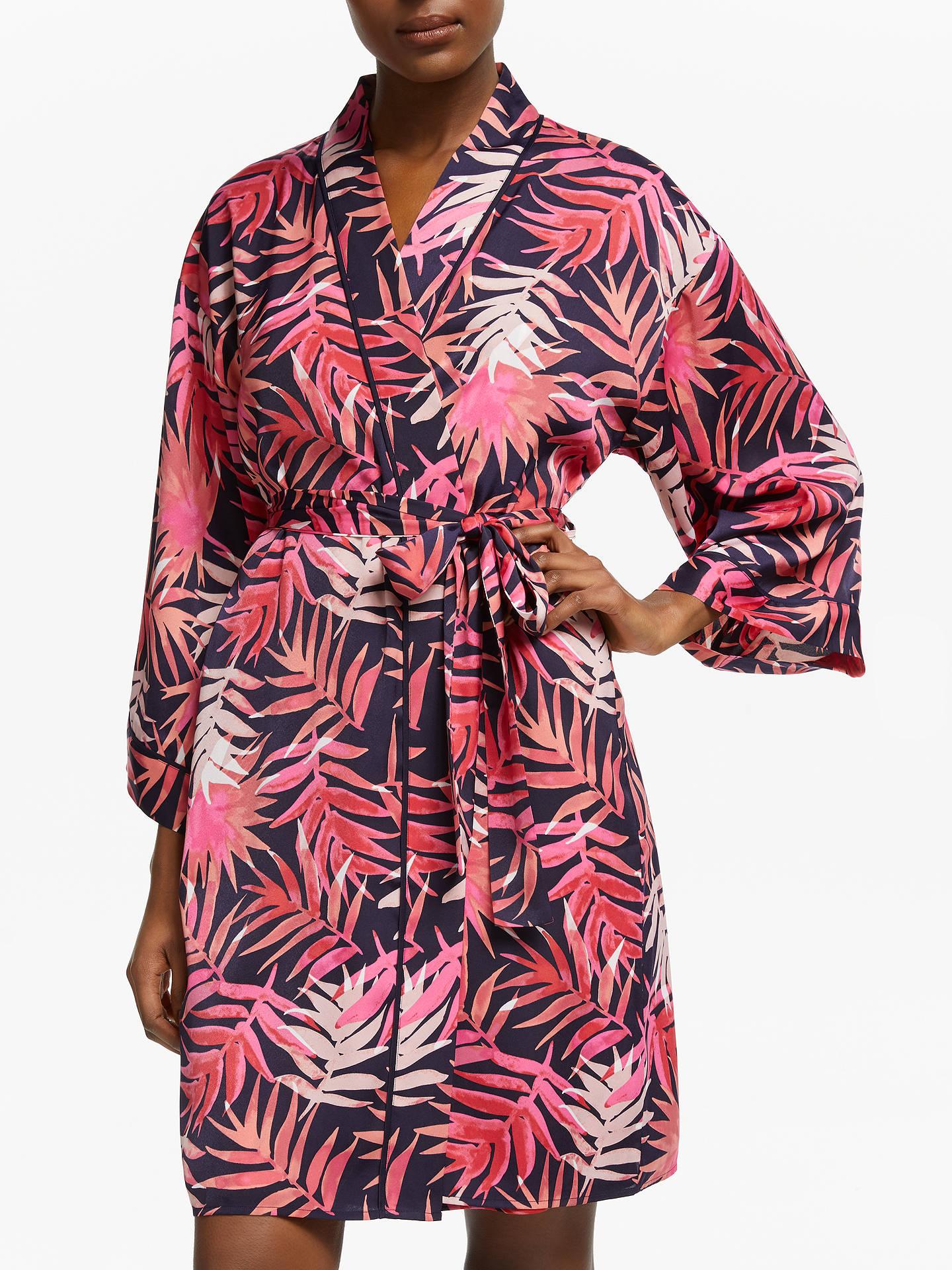 John Lewis Partners Palmer Leaf Dressing Gown Navypink At John