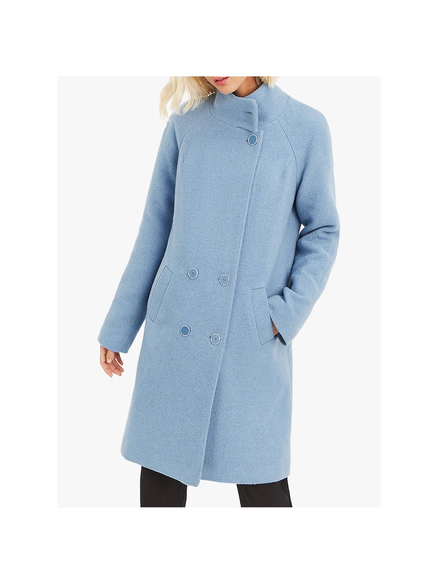 ed2ab30c5ddf Buy Oasis Ash Funnel Neck Coat, Mid Blue, S Online at johnlewis.com ...