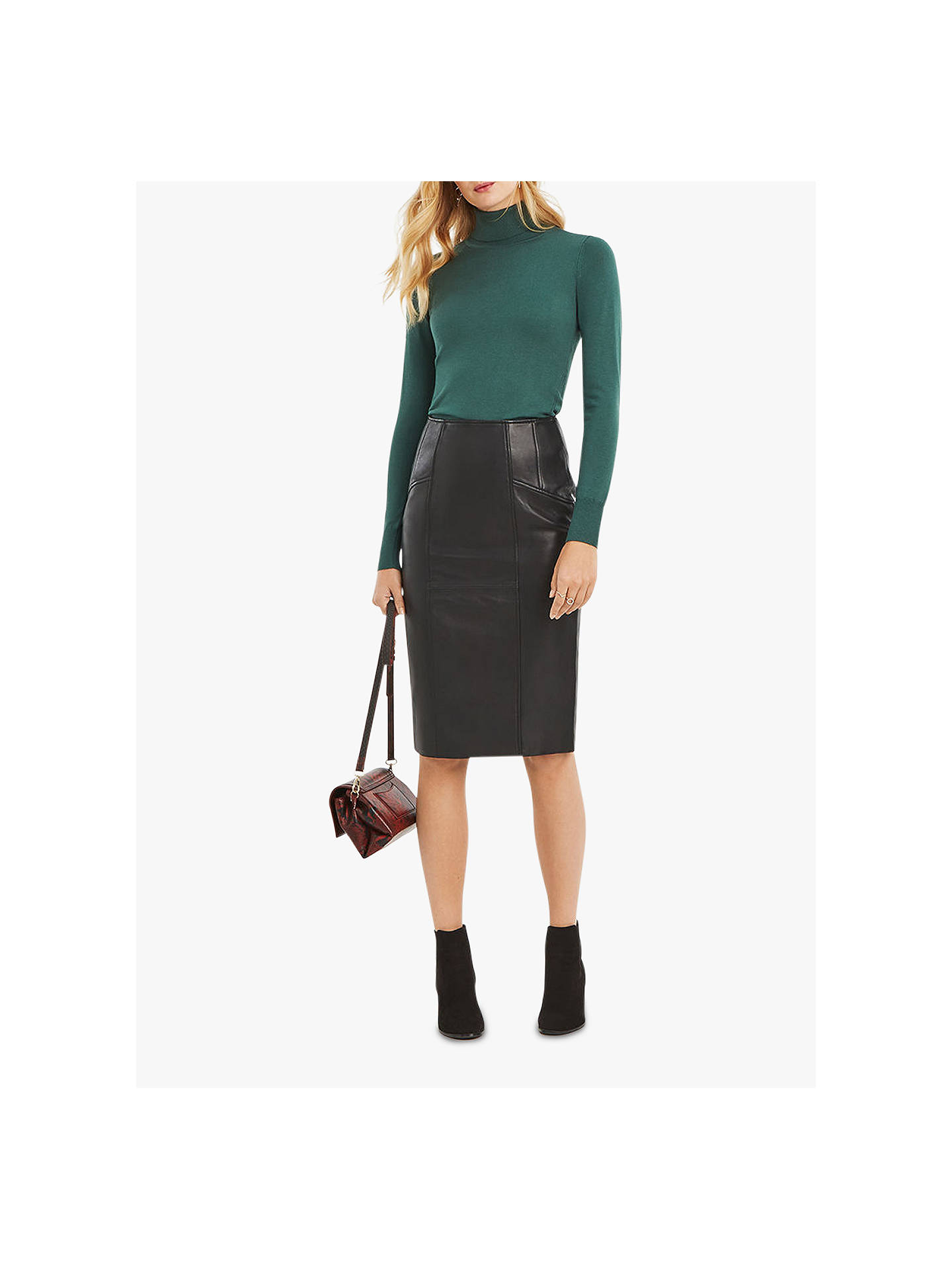 75974fdc5350 Buy Oasis Leather Pencil Skirt, Black, 8 Online at johnlewis.com ...