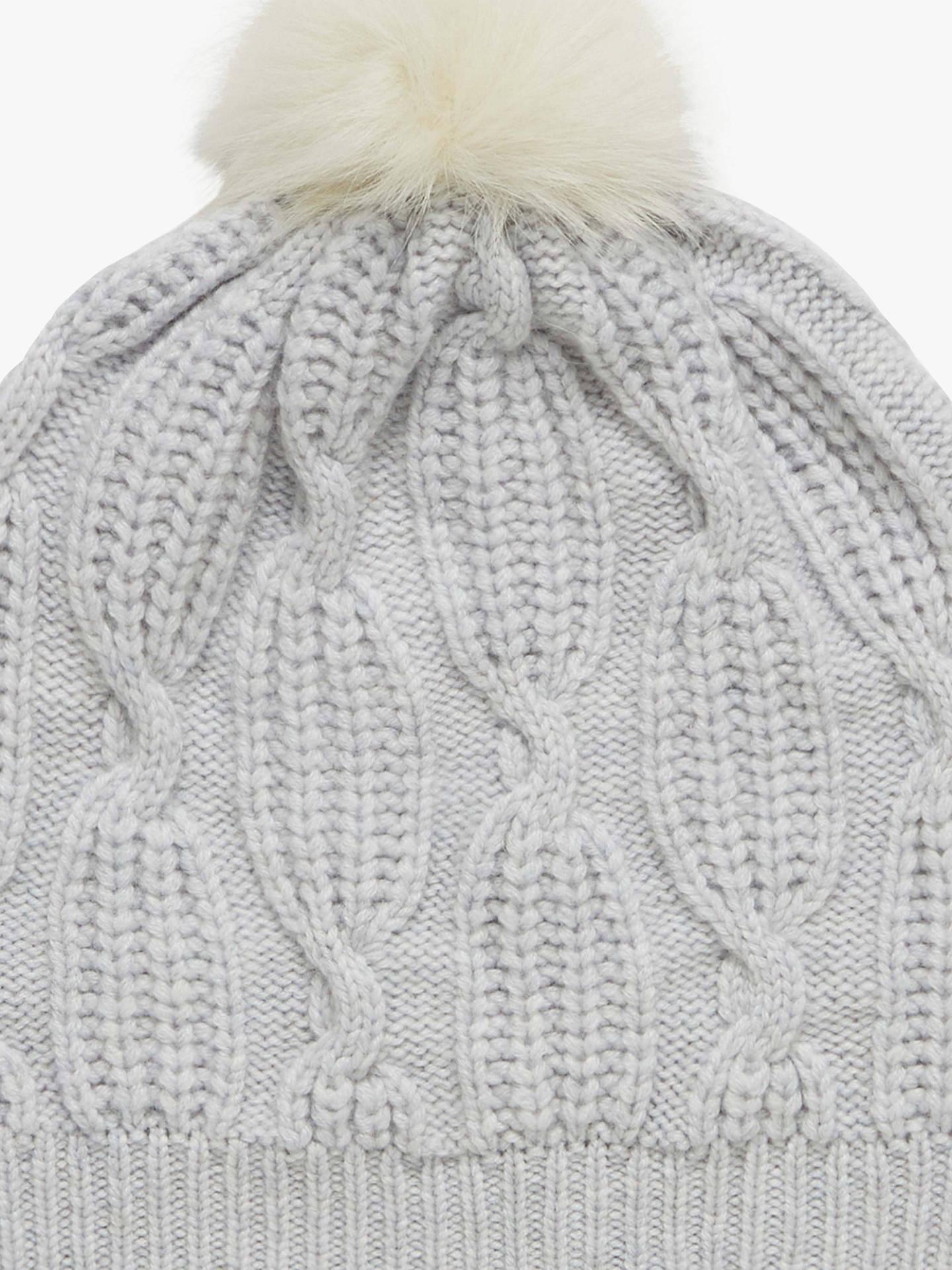 3bd89ebc080422 ... Buy Brora Cashmere Knit Pom-Pom Beanie Hat, Pearl, One Size Online at