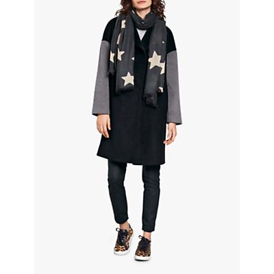 hush Colourblock Coat, Black/Camel/Grey