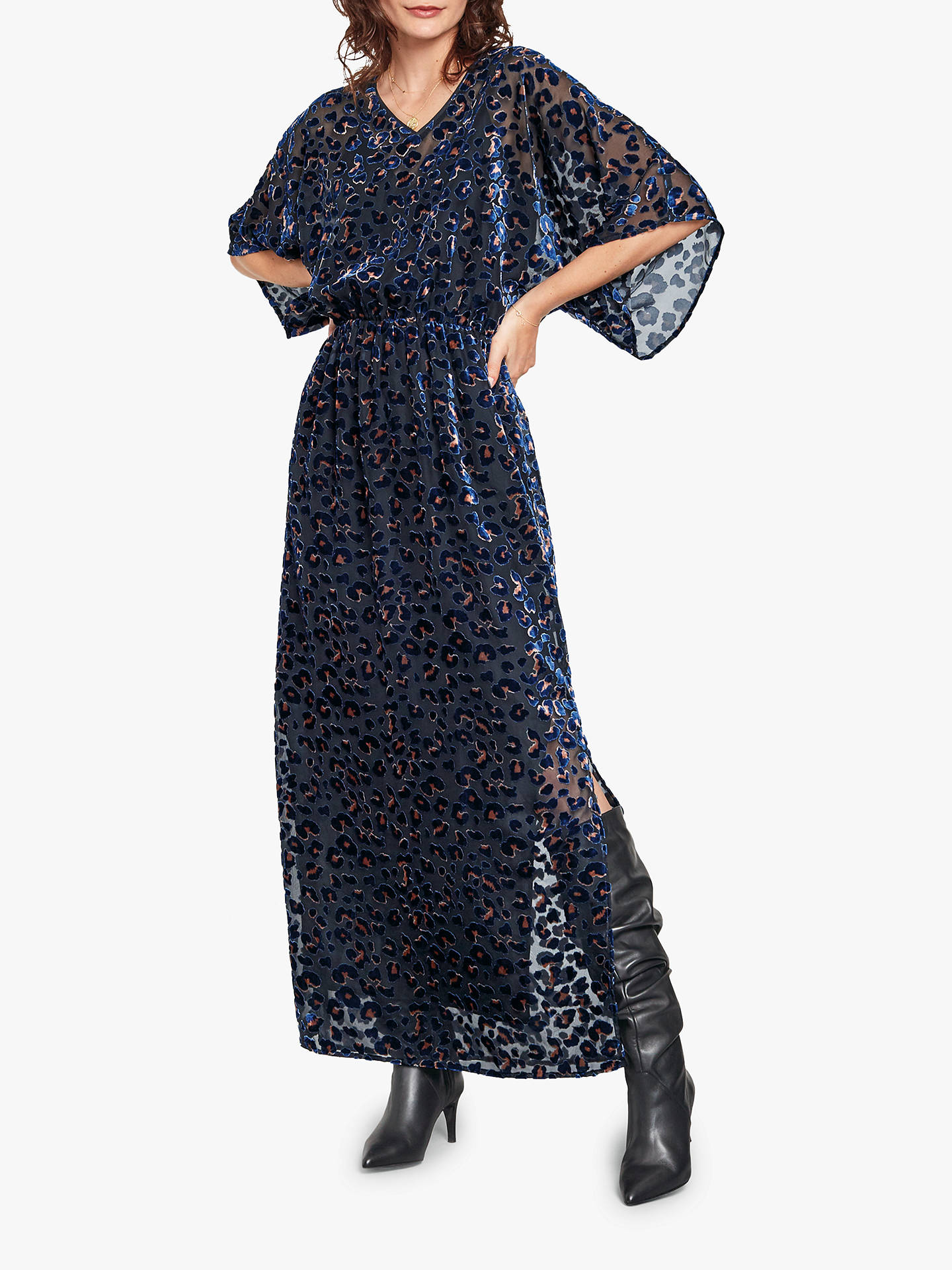 1669b62c1bb3 Buy hush Devore Leopard Print Kimono Dress, Black/Navy, 16 Online at  johnlewis ...