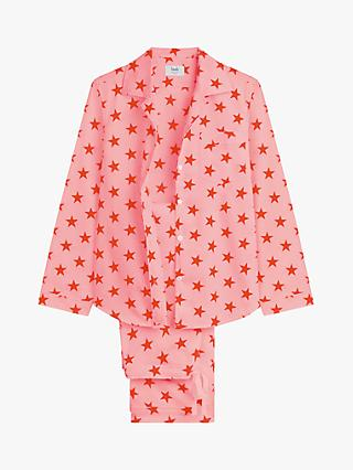 hush Star Piped Cotton Pyjama Set, Pink
