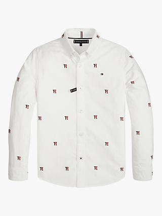 Tommy Hilfiger Boys' Logo Embroidered Oxford Shirt, White