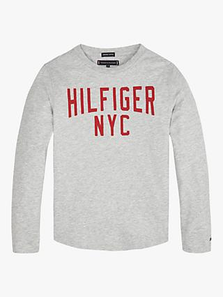 Tommy Hilfiger Boys' Long Sleeve T-Shirt, Light Grey