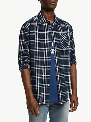 Scotch & Soda Brushed Cotton Check Shirt, Blue