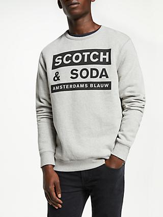 Scotch & Soda Crew Neck Graphic Sweatshirt, Grey Melange