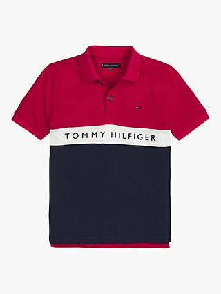 Tommy Hilfiger Boys' Colourblock Polo Shirt, Red/Multi