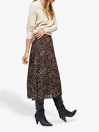 Warehouse Leopard Pleated Midi Skirt, Brown Print