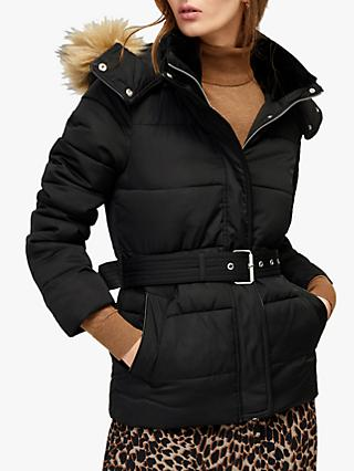Warehouse Short Belted Coat, Black