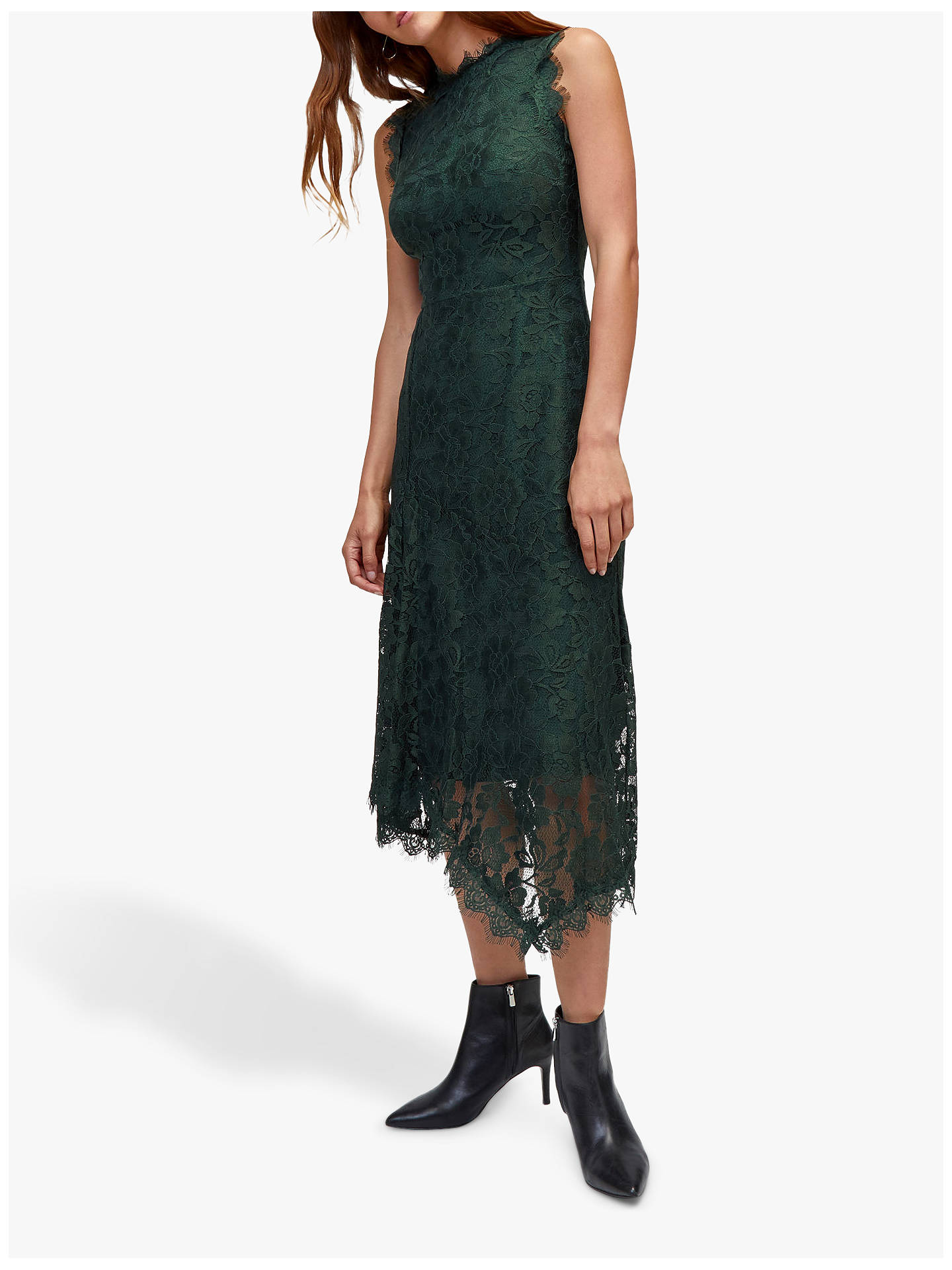 c56cb5298766b Warehouse Lace Midi Dress, Dark Green at John Lewis & Partners