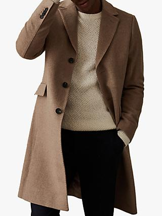 Reiss Tildon Wool Top Stitch Detail Overcoat, Taupe