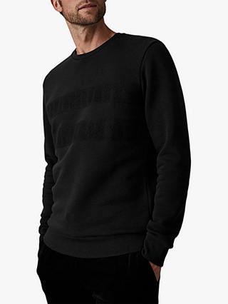 Buy Reiss Alec Needle Punch Sweatshirt, Black, L Online at johnlewis.com