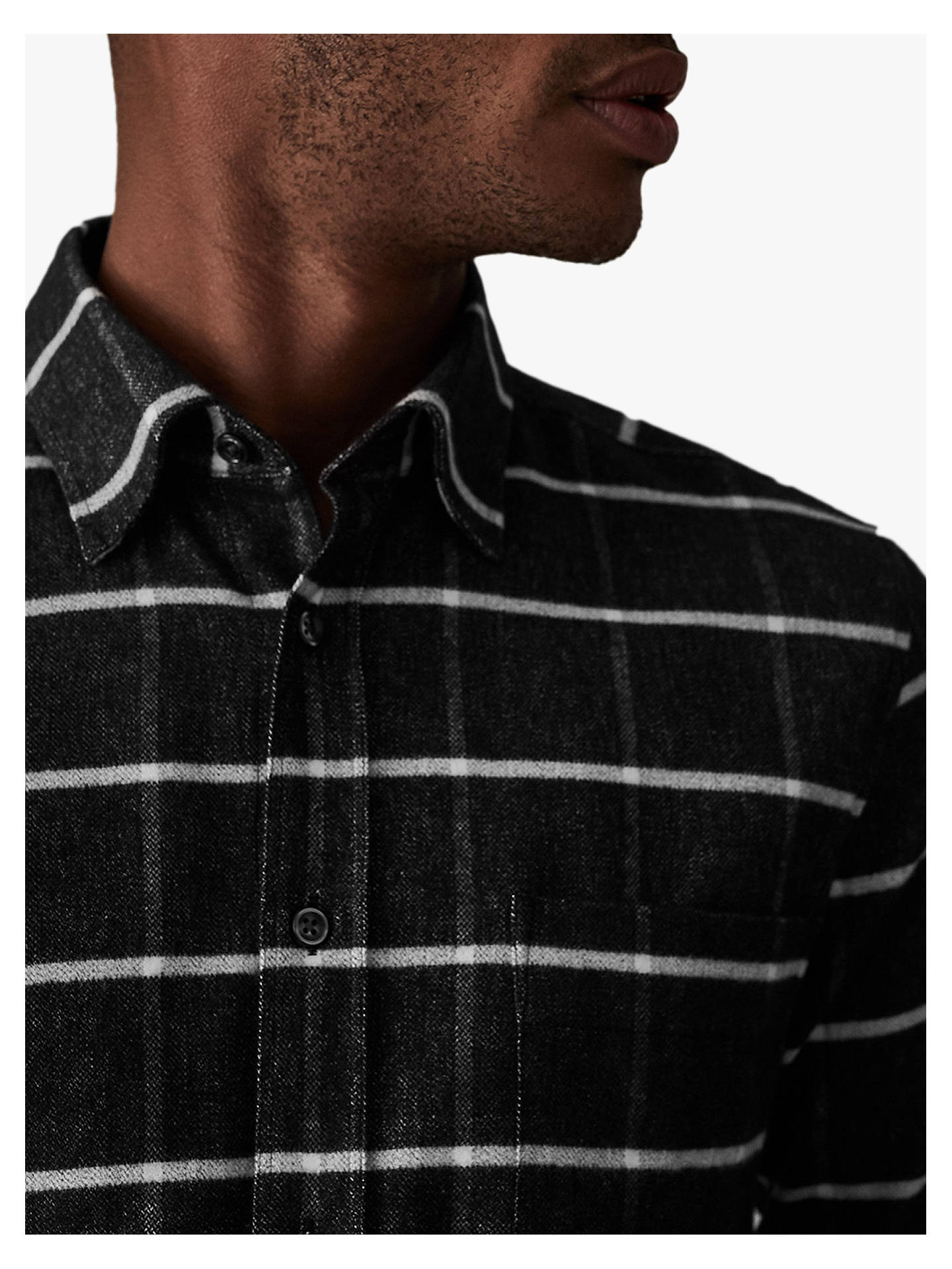 Buy Reiss Crocket Check Shirt, Charcoal, S Online at johnlewis.com
