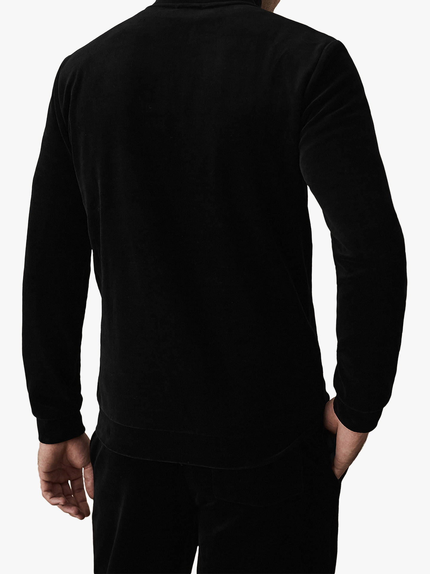 Buy Reiss Thorpe Velour Full Zip Jumper, Black, XL Online at johnlewis.com