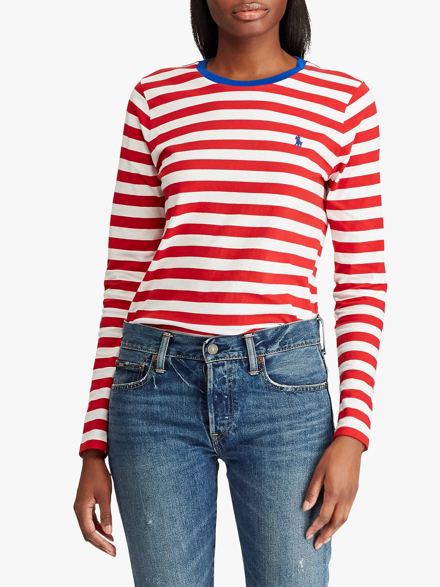 BuyPolo Ralph Lauren Stripe Cotton T-Shirt, Red White, XS Online at ... 889829f14a6