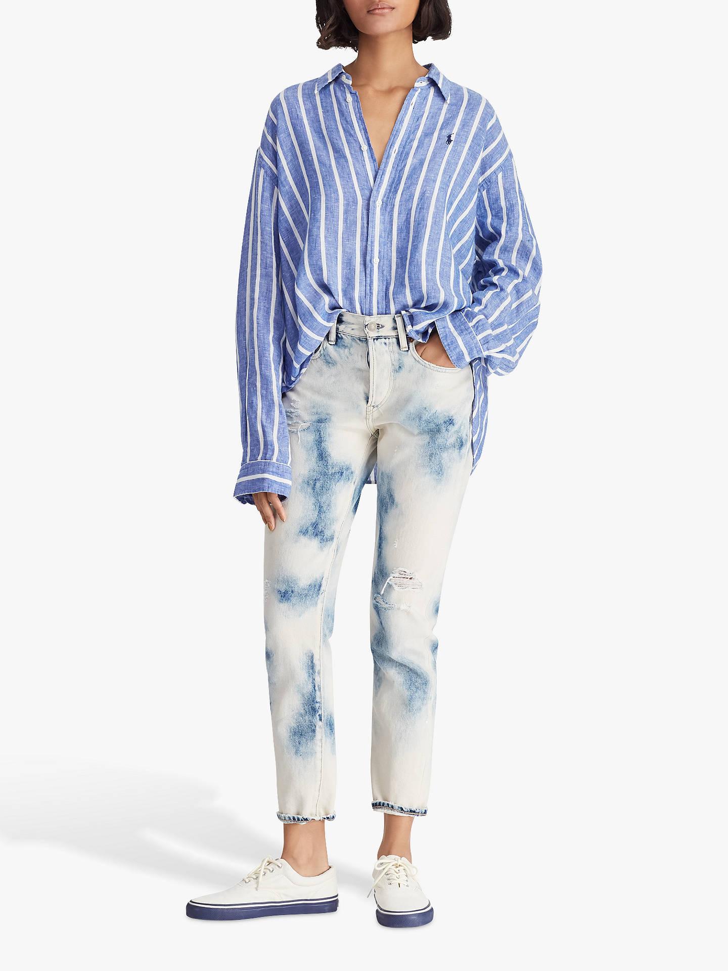 eb57f8fe8db ... Buy Polo Ralph Lauren Wide Stripe Cropped Linen Oxford Shirt,  Royal/White, XS
