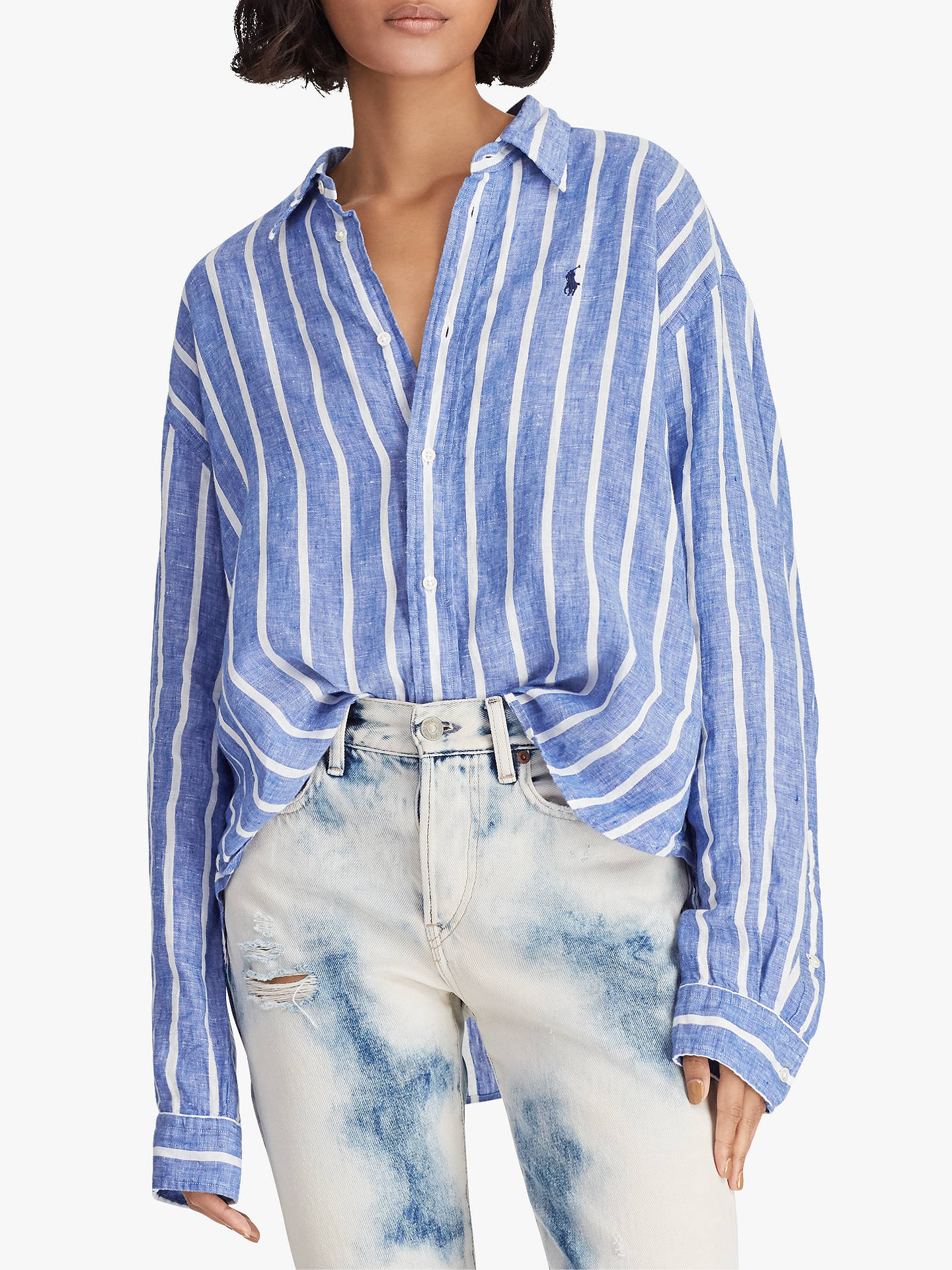 fbe9a174d5 Buy Polo Ralph Lauren Wide Stripe Cropped Linen Oxford Shirt, Royal/White,  XS ...