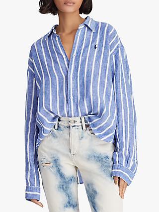 rayas Lauren Ralph de de Polo Oxford anchas Camisa recortada lino Royalwhite nA4PwBw8xq