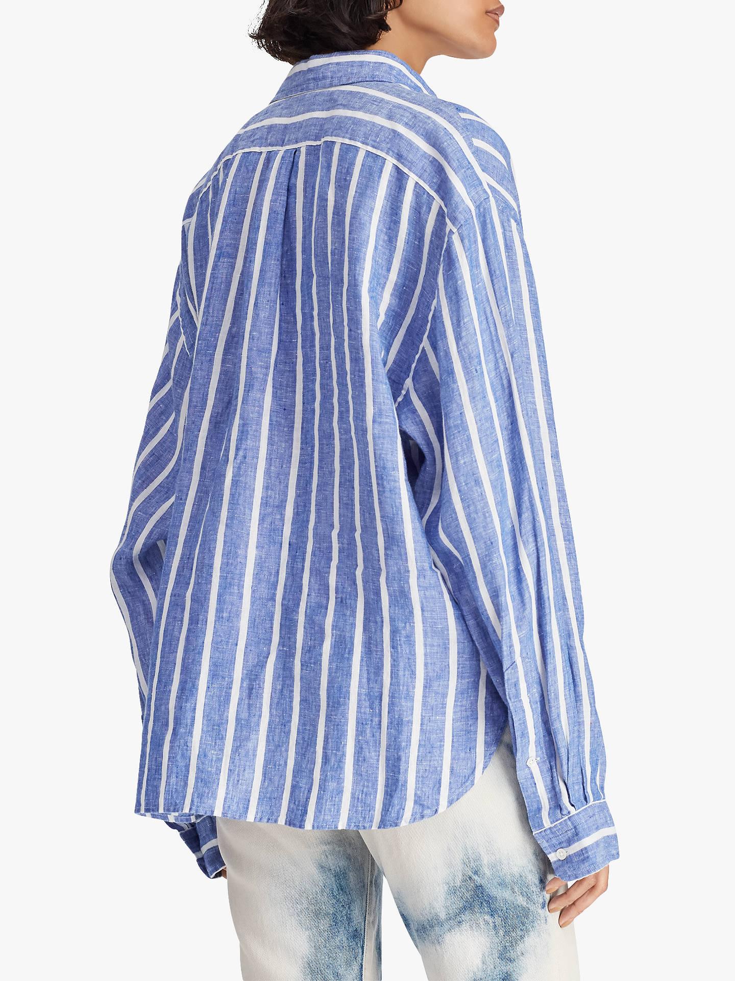 9a428cf8093 ... Buy Polo Ralph Lauren Wide Stripe Cropped Linen Oxford Shirt,  Royal/White, XS ...