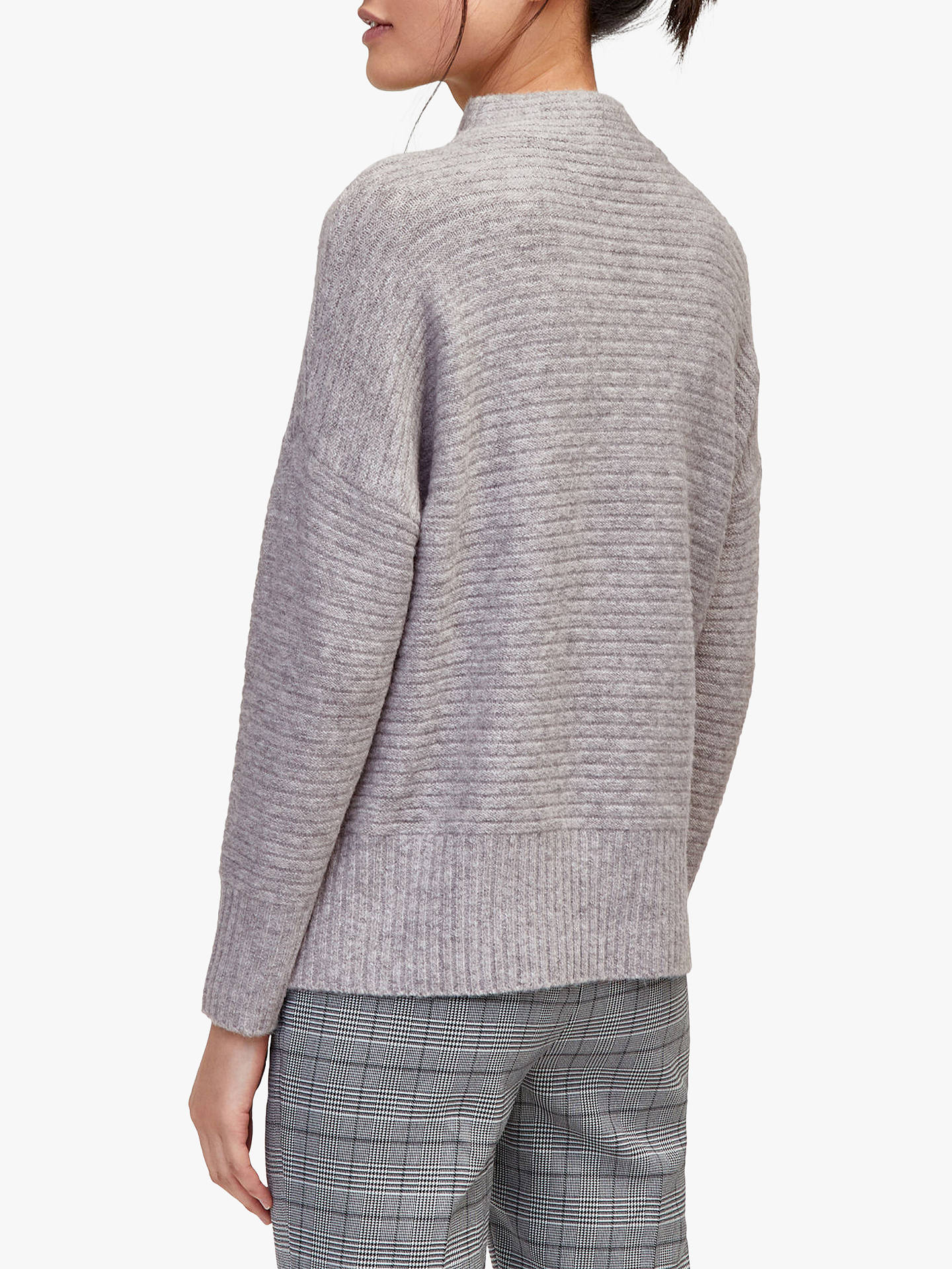 BuyWarehouse Ribbed Funnel Neck Jumper, Light Grey, 6 Online at johnlewis.com