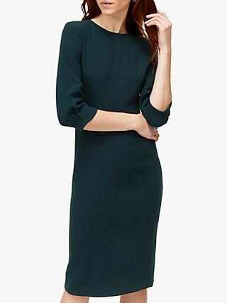 Warehouse Sleeve Tuck Midi Dress, Dark Green