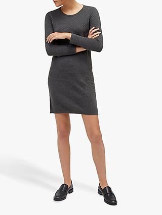 Warehouse Bobble Stitch Dress, Dark Grey