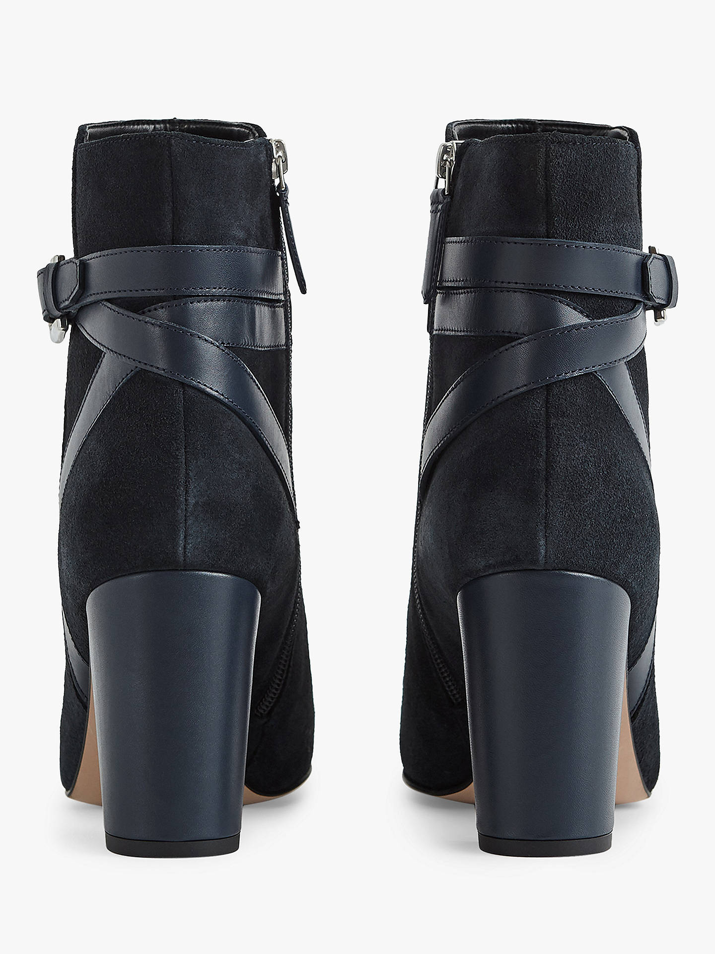 BuyReiss Enrica Suede Leather Ankle Boots, Navy, 3 Online at johnlewis.com