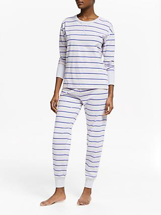 John Lewis & Partners Lydia Stripe Cotton Pyjama Set, Grey/Multi