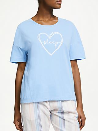 John Lewis & Partners Heart Sleep Slogan Cotton Pyjama Top, Blue