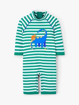 6b35679586 John Lewis & Partners Baby Dinosaur Stripe SunPro Swimsuit, Green/Multi