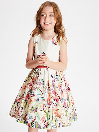 John Lewis & Partners Girls' Floral Bird Dress, Multi