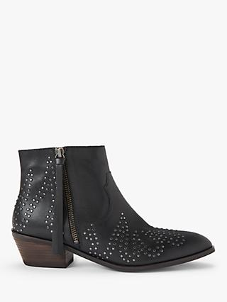 AND/OR Paloma Studded Leather Ankle Boots, Black