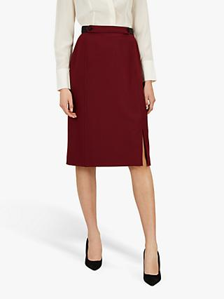 Jaeger Puppytooth Pencil Skirt, Black/Red/Check