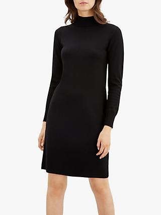 Jaeger Contrast Wool Knit Shift Dress, Black