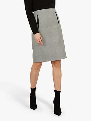 Jaeger Prince of Wales Pencil Skirt, Black/White/Check