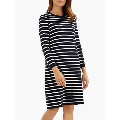Jaeger Breton Stripe Wool Knit Dress, Navy/White
