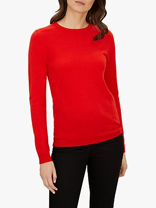 Jaeger Cashmere Crew Neck Jumper, Bright Red