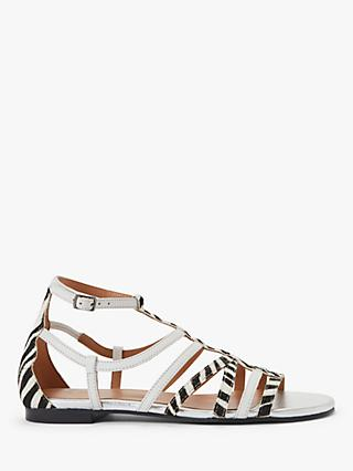 AND/OR Lucia Leather Sandals, White/Zebra