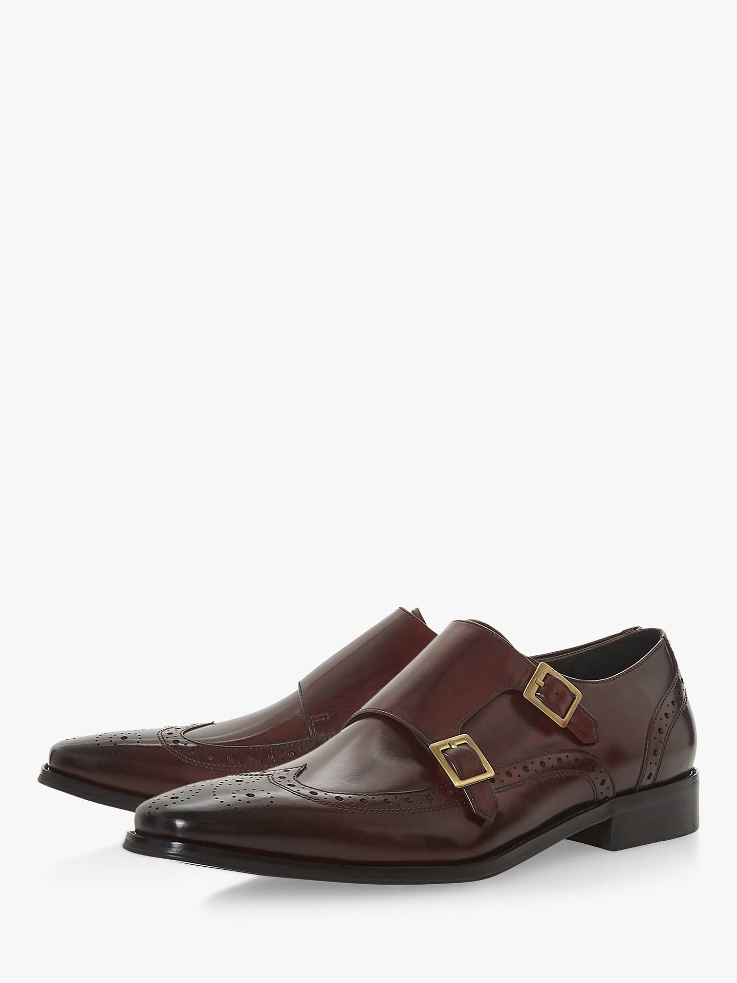 BuyDune Patch Double Buckle Monk Shoes, Burgundy, 6 Online at johnlewis.com