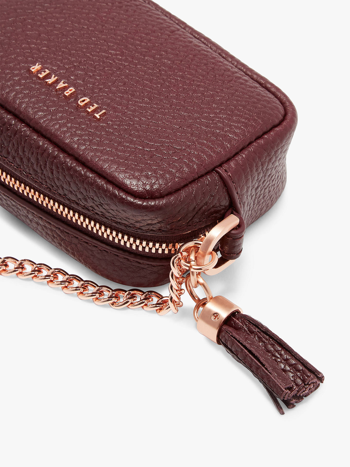 Buy Ted Baker Mmorgan Leather Coin Purse Bag Charm, Dark Purple Online at johnlewis.com