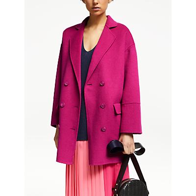 John Lewis & Partners Revere Double Breasted Coat, Pink Sorbet
